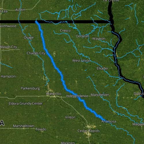 Fly fishing map for Wapsipinicon River: Upper, Iowa