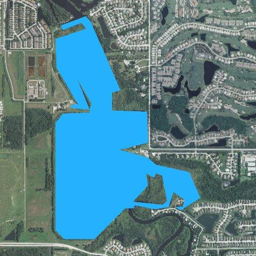 Fly fishing map for Ward Lake, Florida