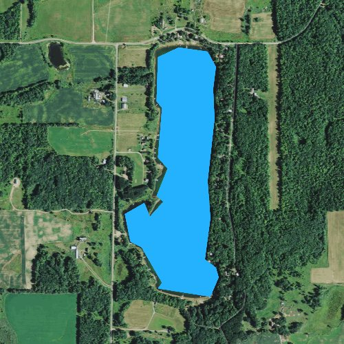 Fly fishing map for Ward Lake, Wisconsin