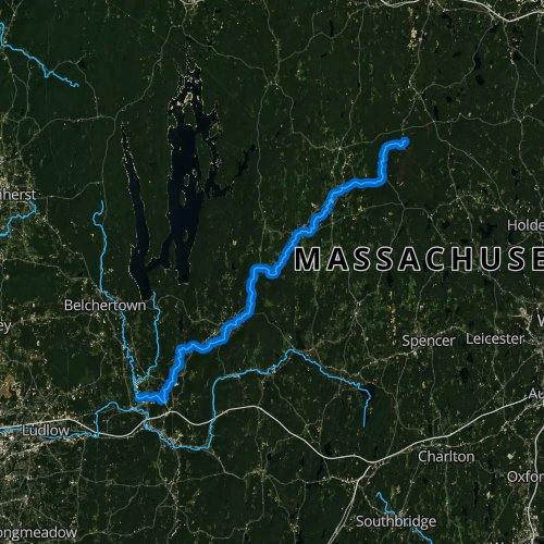 Fly fishing map for Ware River, Massachusetts