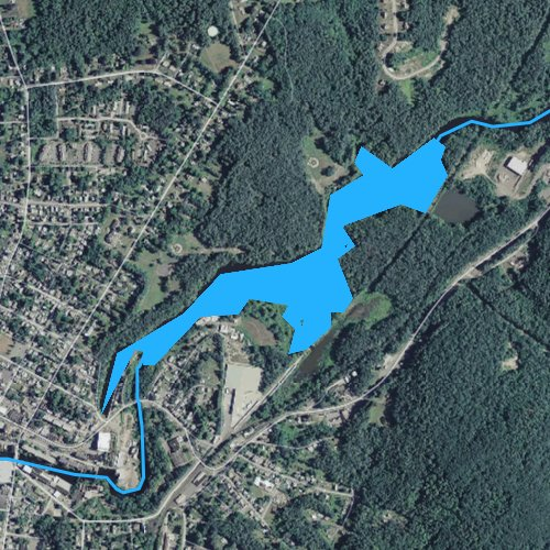 Fly fishing map for Ware River Reservoir, Massachusetts