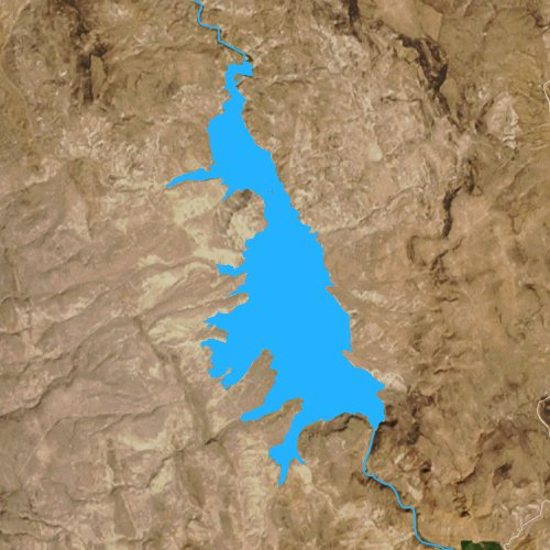 Fly fishing map for Warm Springs Reservoir, Oregon