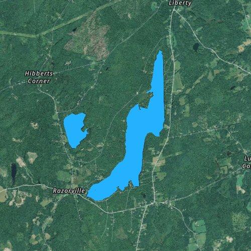 Fly fishing map for Washington Pond, Maine