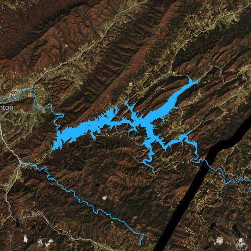 Fly fishing map for Watauga Lake, Tennessee