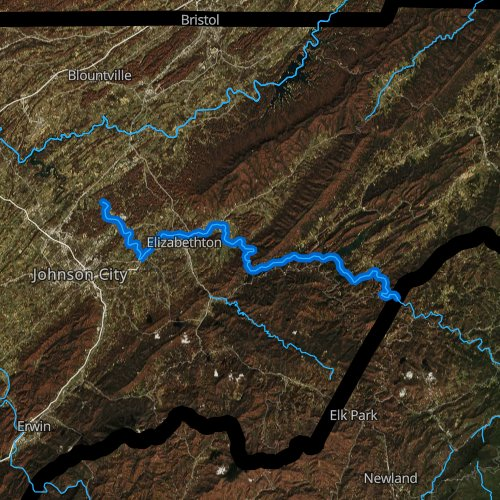 Fly fishing map for Watauga River, Tennessee