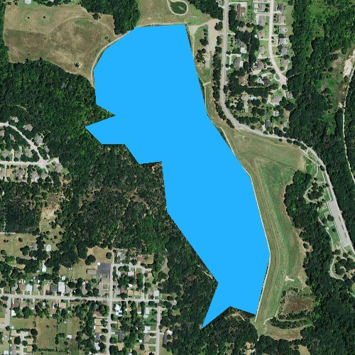 Fly fishing map for Waterloo Lake, Texas