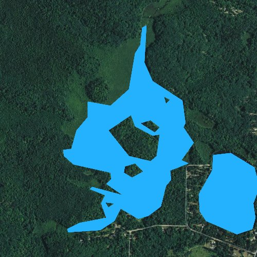 Fly fishing map for Waupee Flowage, Wisconsin