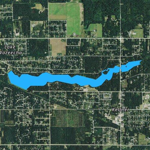 Fly fishing map for Wazeecha Lake 100, Wisconsin