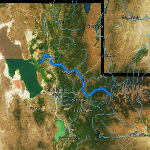 Fly fishing map for Weber River, Utah