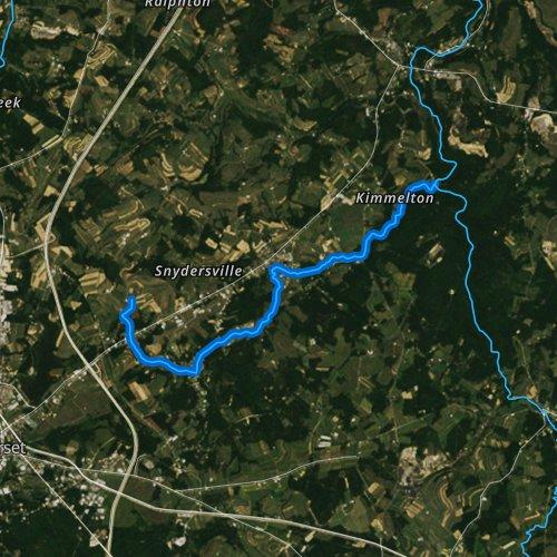 Fly fishing map for Wells Creek, Pennsylvania