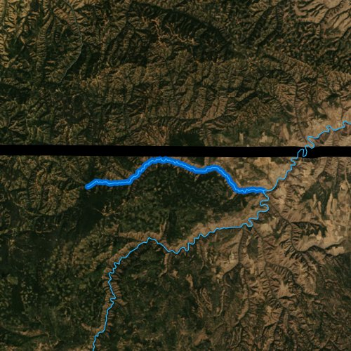 Fly fishing map for Wenaha River, Oregon