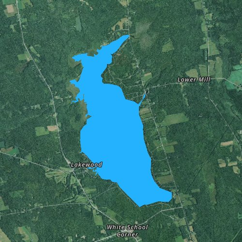Fly fishing map for Wesserunsett Lake, Maine