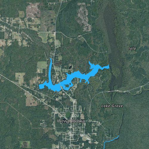 Fly fishing map for West Arm of Dead Lakes, Florida