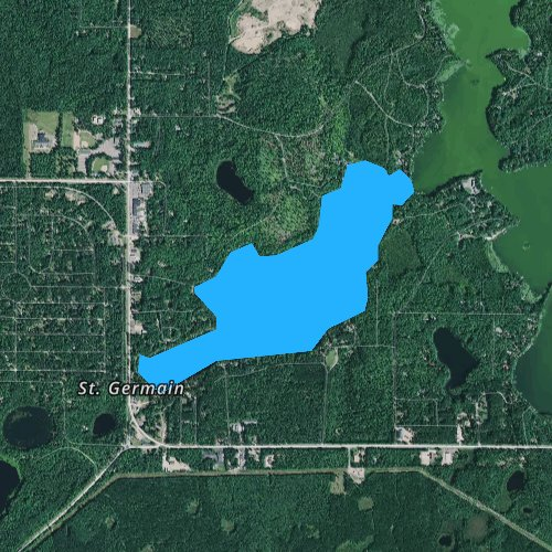 Fly fishing map for West Bay Little Saint Germain Lake, Wisconsin