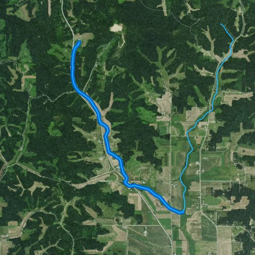 Fly fishing map for West Beaver Creek, Wisconsin