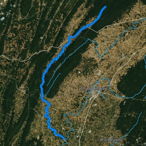Fly fishing map for West Branch Conococheague Creek, Pennsylvania