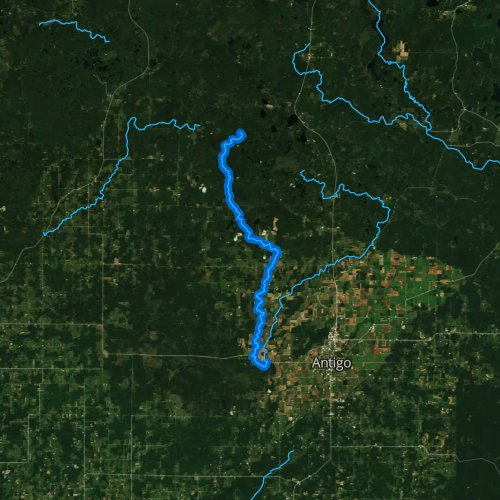 Fly fishing map for West Branch Eau Claire River, Wisconsin
