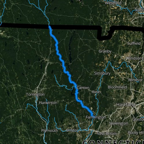 Fly fishing map for West Branch Farmington River, Connecticut