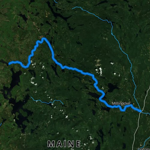 Fly fishing map for West Branch Penobscot River, Maine