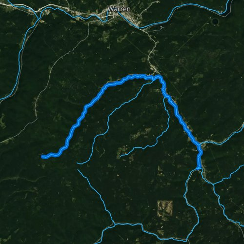 Fly fishing map for West Branch Tionesta Creek, Pennsylvania
