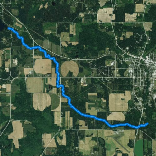 Fly fishing map for West Branch White River, Wisconsin