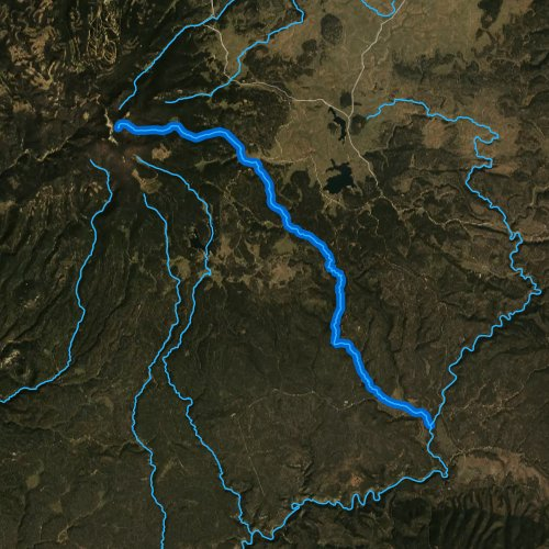 Fly fishing map for West Fork Black River, Arizona