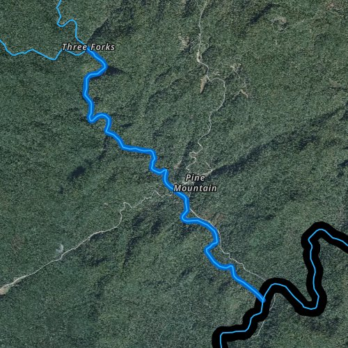 Fly fishing map for West Fork Chattooga River, Georgia