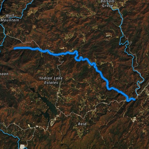 Fly fishing map for West Fork French Broad River, North Carolina