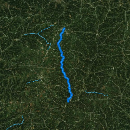 Fly fishing map for West Fork Kickapoo River, Wisconsin