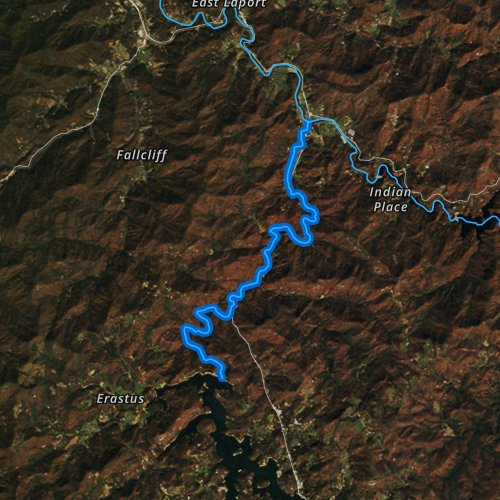 Fly fishing map for West Fork Tuckasegee River, North Carolina
