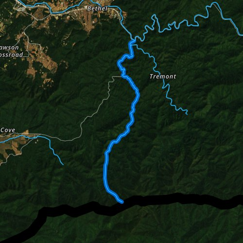 Fly fishing map for West Prong Little River, Tennessee