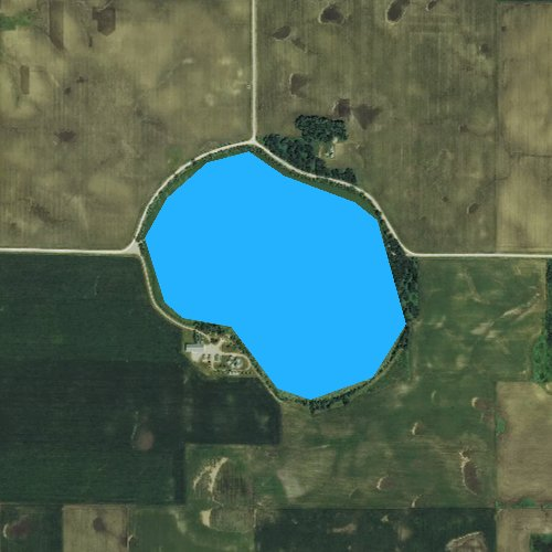 Fly fishing map for West Twin Lake, Iowa