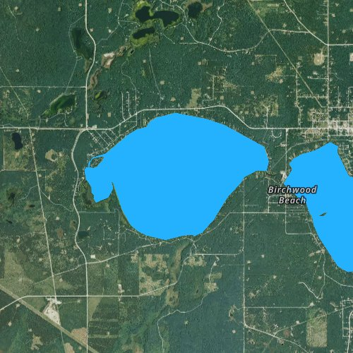 Fly fishing map for West Twin Lake, Michigan