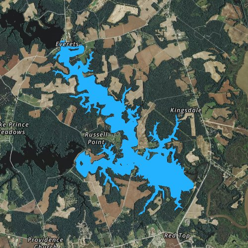 Fly fishing map for Western Branch Reservoir, Virginia