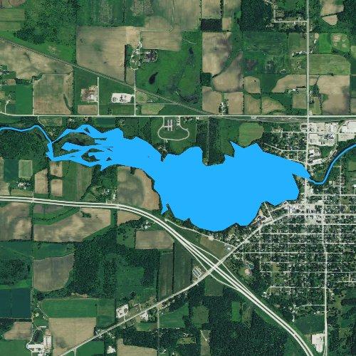 Fly fishing map for Weyauwega Lake, Wisconsin