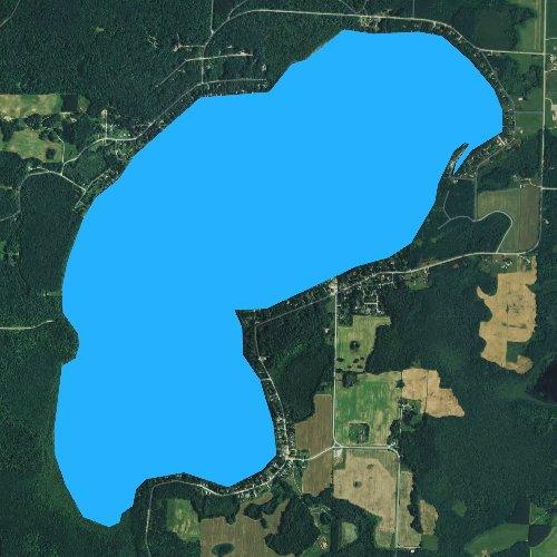 Fly fishing map for White Potato Lake, Wisconsin