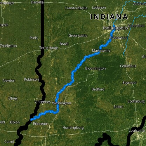 Fly fishing map for White River: Lower, Indiana