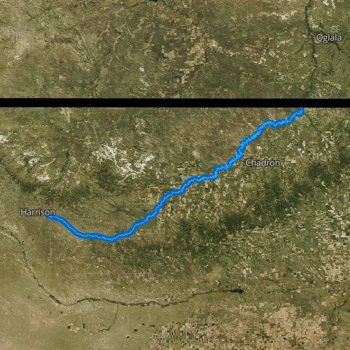 Fly fishing map for White River, Nebraska