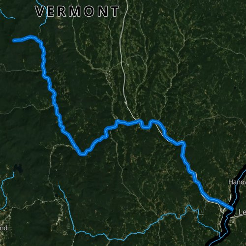 Fly fishing map for White River, Vermont