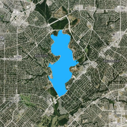 Fly fishing map for White Rock Lake, Texas