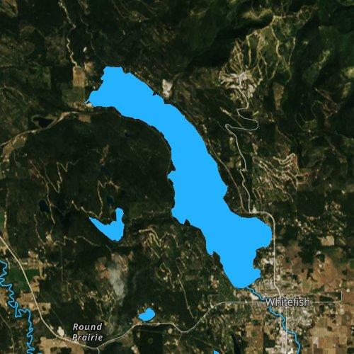Fly fishing map for Whitefish Lake, Montana