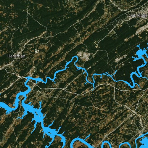 Fly fishing map for Whiteoak Lake, Tennessee