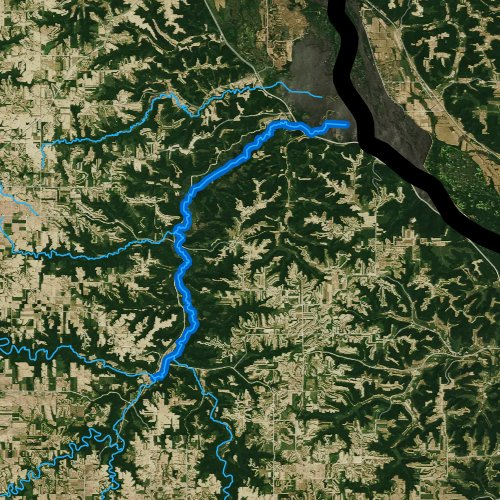 Fly fishing map for Whitewater River, Minnesota