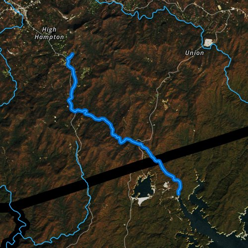 Fly fishing map for Whitewater River, North Carolina