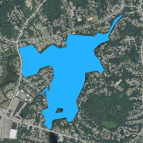 Fly fishing map for Whitmans Pond, Massachusetts
