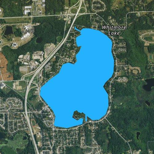 Fly fishing map for Whitmore Lake, Michigan