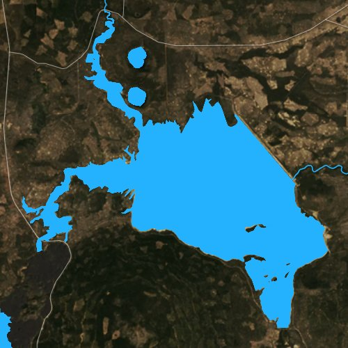 Fly fishing map for Wickiup Reservoir, Oregon