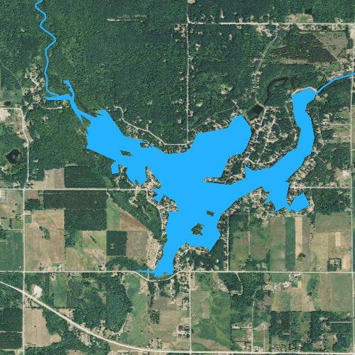 Fly fishing map for Wiggins Lake, Michigan