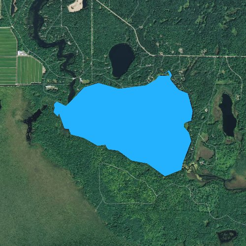 Fly fishing map for Wild Rice Lake, Wisconsin