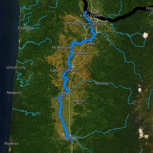 Fly fishing map for Willamette River, Oregon